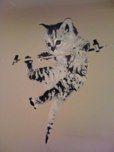 """Mural """"Kitten hanging"""". Hand painted by Aagot.no (2009) #aagotno #art"""