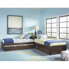 Viv + Rae Granville L-Shaped Storage Twin Panel Bed with Trundle Bed Frame Color: Chocolate
