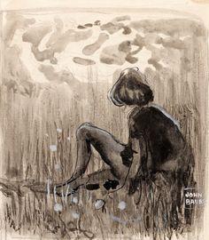 """John Bauer, 1882-1918. """"Sagoprins tittande in i den nedgående solen"""". Signerad John Bauer. Enligt påskrift a tergo utförd 1903. Akvarell, tusch, täckvitt och blyerts på papper 15 x 13 cm."""