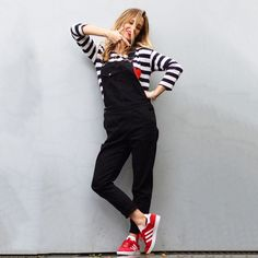 Black Dungarees, stripe tee, Red Gazelles, Chinti and Parker Love Tee, breton and black dungas