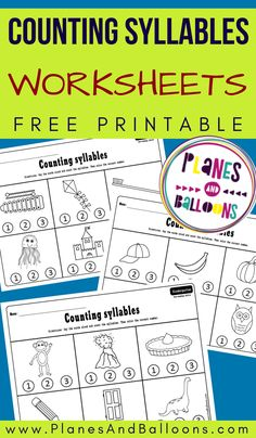 Counting syllables worksheets for kindergarten - free printable phonemic awareness activities - Education interests Syllables Kindergarten, Counting Worksheets For Kindergarten, Kindergarten Literacy Stations, Phonics Worksheets, Kindergarten Activities, Educational Activities, Tracing Worksheets, Preschool Literacy, Early Literacy