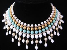 Vintage Mid Century Japan Large Bib Glass and Faux Pearl Necklace