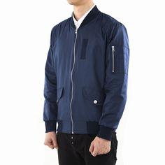 Majeclo Men's Snap Pocket Ma-1 Flight Lightweight Jacket