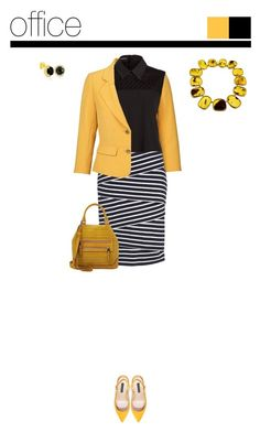 Office outfit: Black - Yellow - White by downtownblues on Polyvore #officewear #pencilskirt