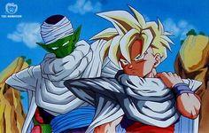 Piccolo and Gohan Suntory Dragon Ball Z Calendar (sept/october)by : Badosutajio / Shueisha / Toeï Animation TV / Fuji TV Dragon Ball Z, Dbz Images, Manga Dragon, Fan Art, King Kong, Fantastic Art, Digimon, Anime Characters, Pokemon
