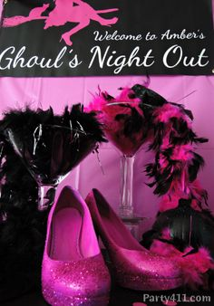 Love the large martini glasses they used for this Ghoul's Night Out bachelorette party.  Perfect for an all girls night on the town!