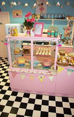 Tea shop - would love to make a look alike for kids playroom Design by… Playroom Design, Kid Playroom, Playroom Ideas, Kids Room, Cupcake Shops, Cupcake Boxes, Bakery Cafe, Cake Bakery, Bakery Design