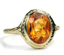 Citrine Ring - like the etching on the gold.