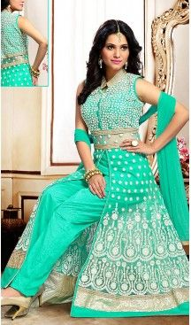 Turquoise Color Net Fabric Ladies Readymade Suit with Dupatta | FH450970742                                                                                                                                                                                 More