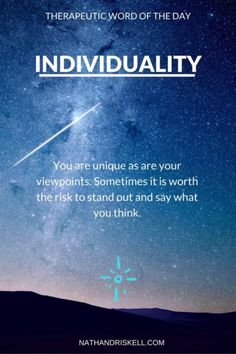 Be yourself, and be not afraid of having your own thoughts or opinions. Learn from others, and let experience and wisdom drive your actions. #individuality nathandriskell.com