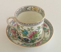 Miniature-Aynsley-Indian-Tree-Pattern-Coffee-Cup-amp-Saucer-C1900