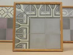 Handmade encaustic tiles, 15x15 cm format. 1585 Jugend border / 1520 Light Grey.  Brochure available.