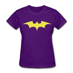 """...and in purple if you're more in the Yvonne Craig color scheme of things.  Batgirl design using my original Batman logo in yellow on purple girl shirt.  This got pulled for """"copyright"""" reasons even though it's my design."""