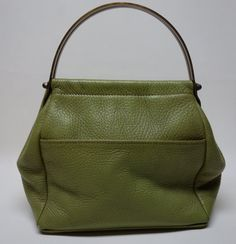 60s Green Pebbled Leather Purse w/Brass Handle by Vintageables