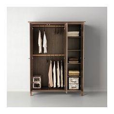 HEMNES Wardrobe with 3 doors - gray-brown - IKEA. Favorite, hands down. Off the floor in case of flooding, double tier hanging + shelves, solid wood.