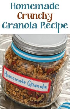 Homemade Crunchy Granola 4 c oats; 1 c wheat germ; 1 c walnuts; 1/4 c brown sugar; 1 teasp cinnamon; 1/4 teasp salt; 1/3 c oil; 1/3 c honey; 1/3 c wter and 6 oz pkg dried fruits mix all together gake until browned on 300 degrees stir every 10 min!