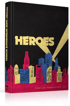"Yearbook Cover - Victory Lakes Intermediate School - ""Heroes"" Theme - Comic Book, Superhero, City Skyline, Weathered, Super, Batman, Search Light, Gotham, Yearbook Ideas, Yearbook Idea, Yearbook Cover Idea, Book Cover Idea, Yearbook Theme, Yearbook Theme Ideas"