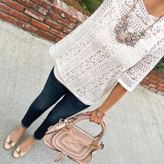 Glam on Rye Necklace, Chloe marcie small leather satchel, Banana Indigo Skinny Ankle Jean Blue crush, striped mockneck lace top, Ferragamo Vara pumps, fall fashion, petite outfits, lace top, bow pumps - click the photo for outfit details!