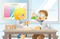 Students in Science Project  #GraphicRiver