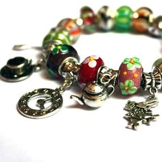 Tea Time - Alice Charm Bracelet, Alice, for her, for woman, for girl, for teen, gift idea, sweet 16, birthday present,green