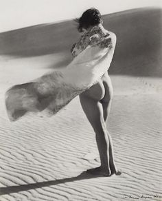 Nude on Dune, 1930's by Max Dupain   naked in nature   sand dune   beach   seaside   sarong   wind in the hair   mother nature   birthday suit   vintage   black  white photography   the elements   summer