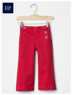 1969 red sailor flare jeans