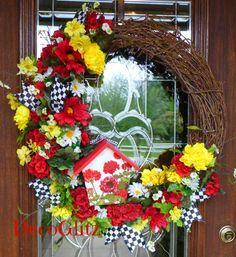 Grapevine Wreath with a GERANIUM BIRDHOUSE and SUMMER by decoglitz