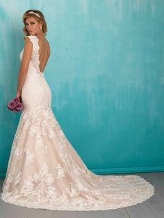 Allure Bridals 9320 Fit and Flare Lace Wedding Dress