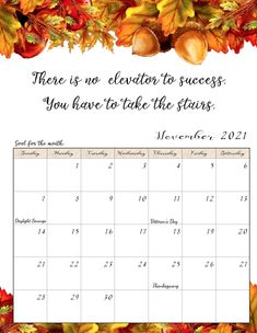 FREE Printable 2021 Monthly Motivational Calendars. Space for setting goals, different motivational quote each month, holidays marked. Get motivated and organized with this free printable calendar. Free Printable Calendar Templates, Monthly Planner Printable, Free Printable Coloring Pages, Free Printables, Print Calendar, Kids Calendar, 2021 Calendar, Calander, Free Prints