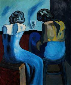 Pablo Picasso, Pablo Picasso: Prostitutes at a Bar, 1902 (Blue Period) on ArtStack #pablo-picasso #art