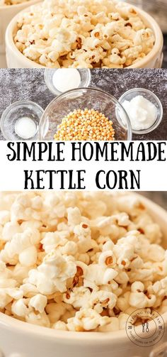 Sweet and Salty Kettle Corn, made with coconut oil, sugar and salt is a simple everyday treat! Homemade is always better! Sweet and Salty Kettle Corn, made with coconut oil, sugar and salt is a simple everyday treat! Homemade is always better! Easy Homemade Snacks, Easy Snacks, Healthy Snacks, Easy Meals, Popcorn Snacks, Snacks Für Party, Best Popcorn Kernels, Sugar Popcorn, Sweets
