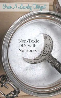 "BORAX FREE! All natural, non-toxic laundry detergent with no borax. Recipe makes 11.43 lbs (183 oz.) for $20.75 or 320 loads at $0.06 per load! It rates an ""A"" on the Environmental Working Group (EWG) scale, so you can feel good about using it in your home. http://brendid.com/grade-a-laundry-detergent/"