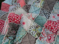 Baby Girl Rag Quilt Crib Size Made in Verona by DandelionGlow, $109.00