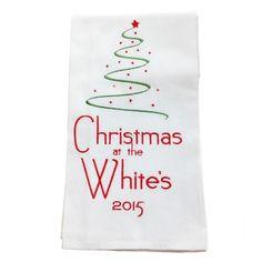 Personalised Embroidered Christmas Tea Towel 1 £8.75