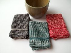 Dish Cloths Knit in Cotton in Oatmeal with Red by TheNeedleHouse $12.00