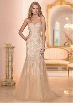 Elegant Tulle Sweetheart Neckline Natural Waistline Sheath Wedding Dress With Beaded Lace Appliques