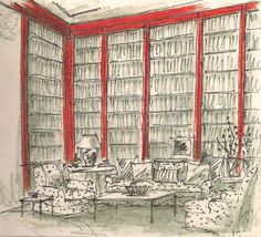 Albert Hadley's sketch of the proposed new red Library for Brooke Astor from Albert Hadley, The Story of America's Preeminent Interior Designer.