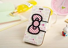 """iPhone 6 Case, Phenix-Color Hello Kitty Style KickStand Wallet Flip Cover PU Leather Cover w/ Card & ID Holder for iPhone 6 4.7"""" + Free Screen Protector (#2)"""