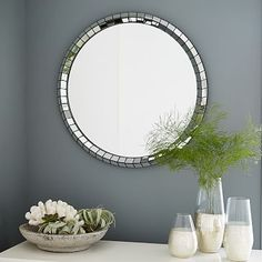 Chevron Tile Round Mirror - West Elm