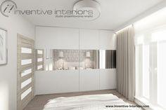 Projekt sypialni Inventive Interiors - biała szafa z lustrami w sypialni Wardrobes, Home And Garden, Room Decor, Living Room, Bedroom, Interior, Furniture, Corridor, Cupboards