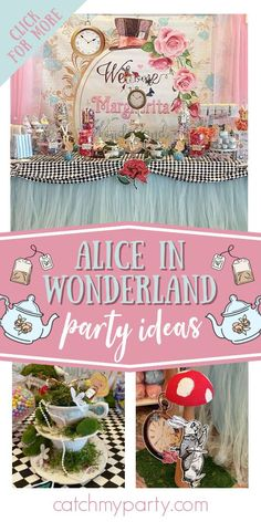Don't miss this fabulous Alice in Wonderland Sweet 16! The dessert table is gorgeous! See more party ideas and share yours at CatchMyParty.com Girls Birthday Party Themes, Tea Party Birthday, Birthday Decorations, Girl Birthday, Sweet 16 Themes, Crate Ideas, Alice In Wonderland Birthday, Fruit Party, Sweet 16 Parties