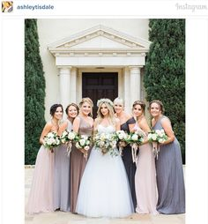 Ashley Tisdale's bridal party, including Vanessa Hudgens | mismatched bridesmaids with boho hair, and grey, blue, neutral gowns | celebrity wedding