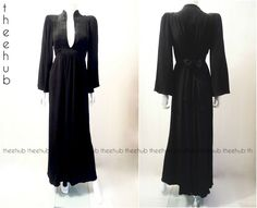 Vtg 70s High Priestess Ossie Clark Radley Black Fortuny Style Sash Gown Dress