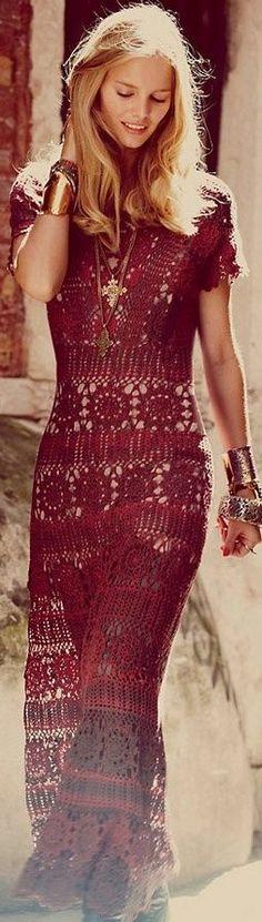 Bohemian - Bordeaux Knit Maxi.