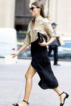 Le Fashion Blog Street Style Nyfw Giorgia Tordini Summer Office Style Tan Button Down Utility Shirt High Waisted Black Midi Skirt Clutch Flat Ankle Strap Sandals Via Style Caster