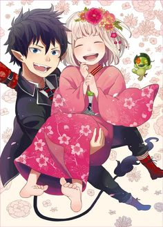 Blue Exorcist ~~~ Rin and Shiemi .. I'm watching this for the 1st time and I love it!!  I love it so much I don't know why I haven't watched it before.