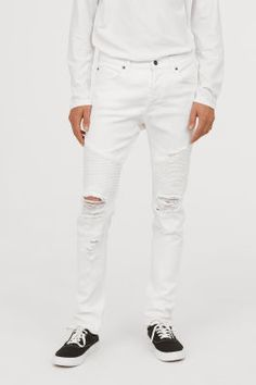 jeans in washed stretch denim with a regular waist and button fly. Skinny Biker Jeans, Ripped Jeans Outfit, White Ripped Jeans, White Distressed Jeans, White Chinos, Fashion Pants, Men Fashion, Hoodie Jacket, American Idiot
