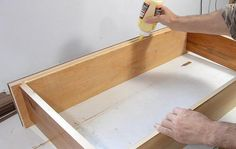GLUE thin plywood (brads to hold in place) for drawer box bottoms