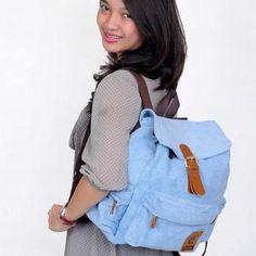 ESGOTADO DENIMO LILO LIGHT BLUE Leather Backpack, Backpacks, Bags, Fashion, Handbags, Moda, Leather Backpacks, Fashion Styles, Backpack