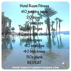 #hotelroomworkout work out on vacation in the privacy of your hotel room or outside in a quiet spot. this little birdy did this workout in Cabo. Enjoy! And sweat on!